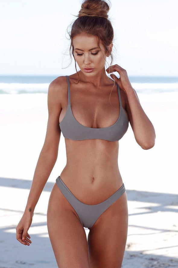 Grey High Cut Cheeky Sexy Bikini Swimsuit