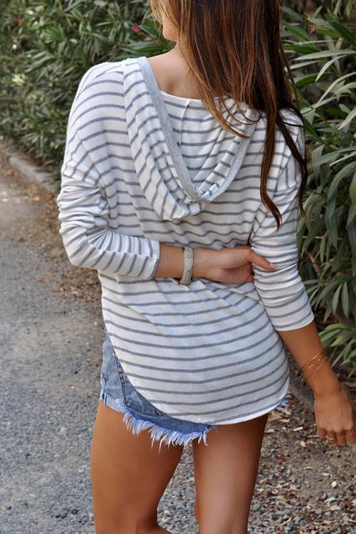 Casual Long Sleeves Striped T-shirt