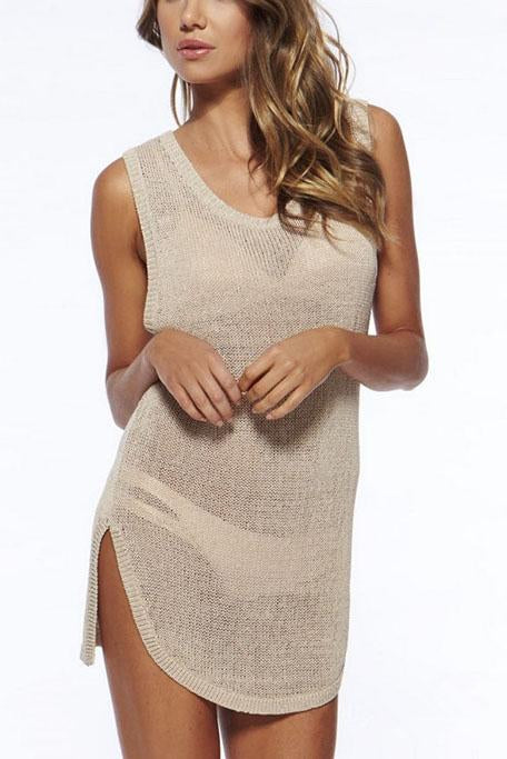 E&C Apricot Scoop Neck Keyhole Crochet Asymmetric Beach Cover Up Tank Dress