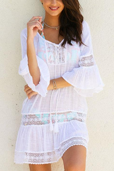 White Crochet Hollow Out Flare Sleeve Ruffle Beach Cover Up Tunic