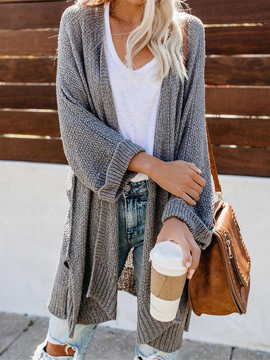 Loose Bat-sleeve Solid Color Cardigan
