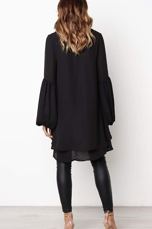 Puff Sleeve Lrregular Hem Solid Color Long Sleeve T-Shirt