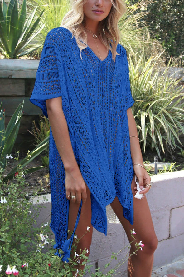 Blue Crochet Hollow Out Sexy Beach Bathing Suit Cover Up Dress