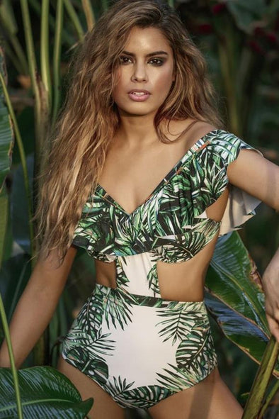 E&C Dark Green Off Shoulder Tropical Leaf Print Ruffled Cutout Push Up Sexy One Piece Swimsuit
