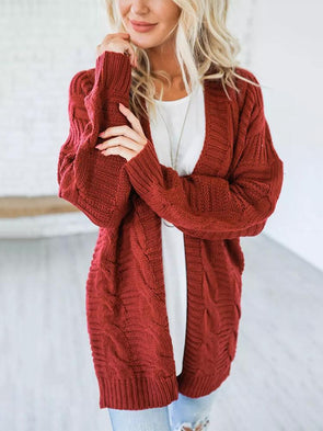 Solid Color Thick Knitting Long Cardigan
