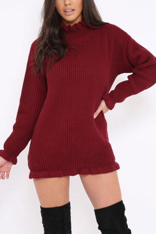 Ruffled High Neck Bag Hip Sweater