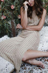 Apricot Sheer Crochet Slit Sleeveless Long Sexy Beach Cover Up Dress