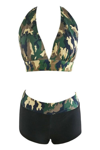 Black Camo Print Halter High Waisted Boyshort Two Piece Swimsuit