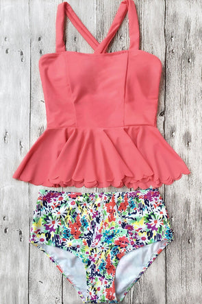 Watermelon Dasiy Print Scalloped Hem High Waisted Peplum Cute Tankini Swimsuit