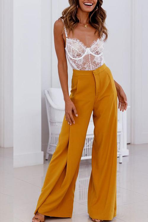 Solid Color High Waist Wide Leg Pants Suit Pants