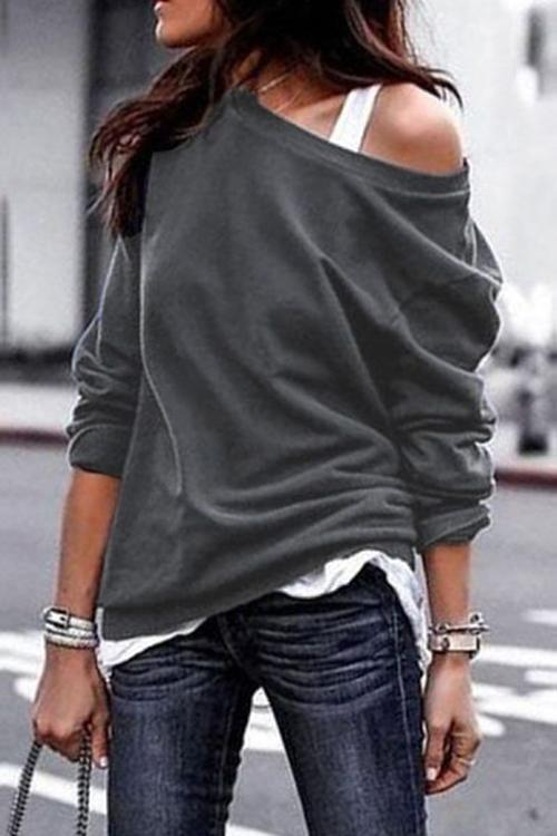 Fashion Long Sleeves One Shoulder T-Shirt