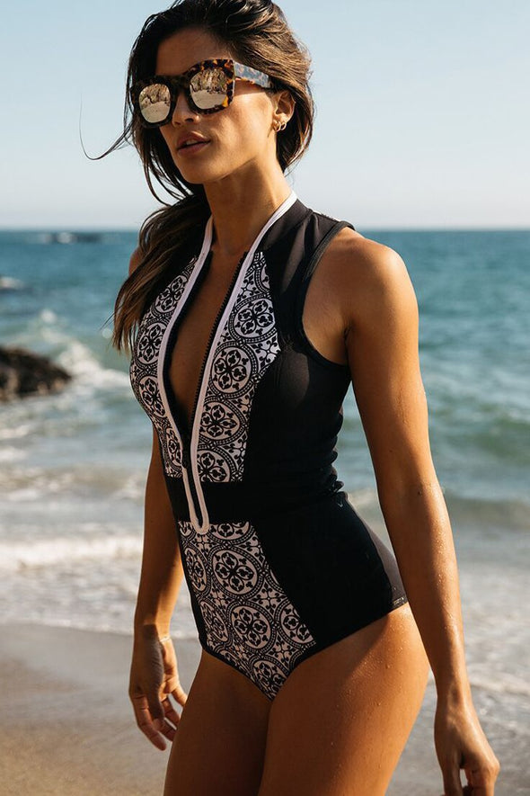 E&C Black Plunge Zipper Up Tribal Print Sexy One Piece Swimsuit