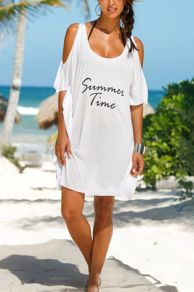 E&C White Cold Shoulder Letter Print Asymmetric T Shirt Dress Beach Cover Up