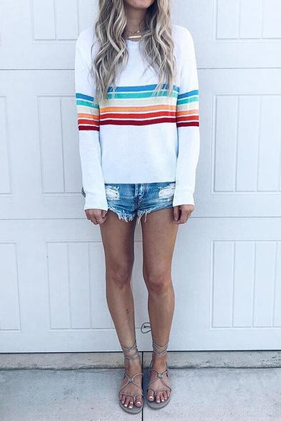 Colorful Striped Long Sleeve Round Neck T-shirt