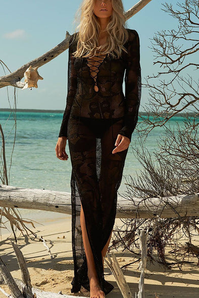 Black Lace Up Crochet Sheer Slit Long Beach Cover Up Dress
