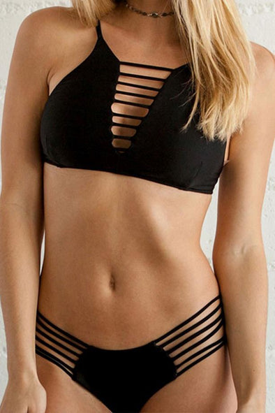E&C Black Strappy Caged High Neck Sexy Bikini Swimsuit
