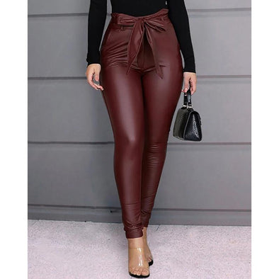 2 Colors Tie Waist Faux Leather Leggings