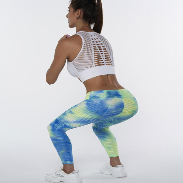 Azure Tie Dye Textured Butt Lifting Ruched Leggings