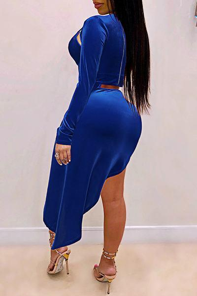 Solid Color Long Sleeve Keyhole Bust Dramatic Cutout Dress