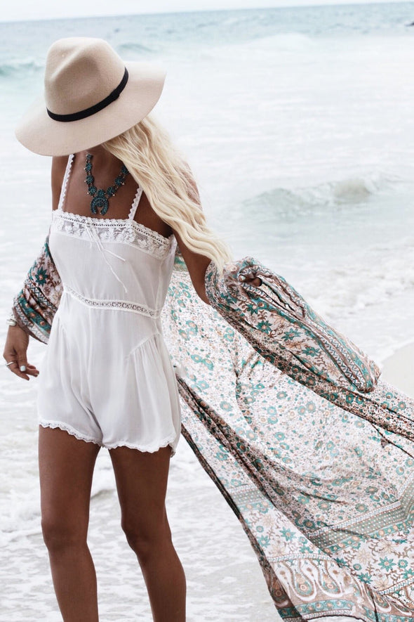 E&C Coffee Paisley Tribal Print Kimono Long Beach Cover Up Cardigan