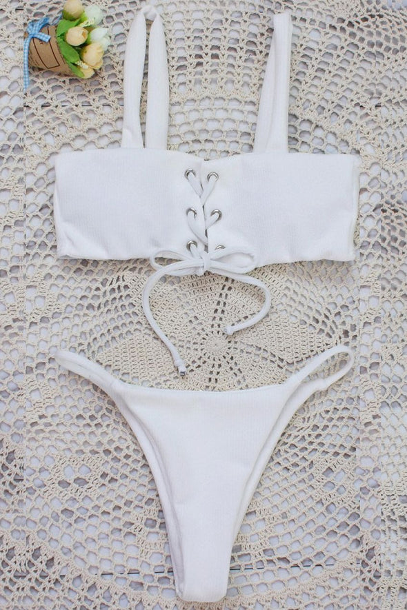 E&C White Strappy Lace Up High Cut Ribbed Thong Sexy Bikini Swimsuit