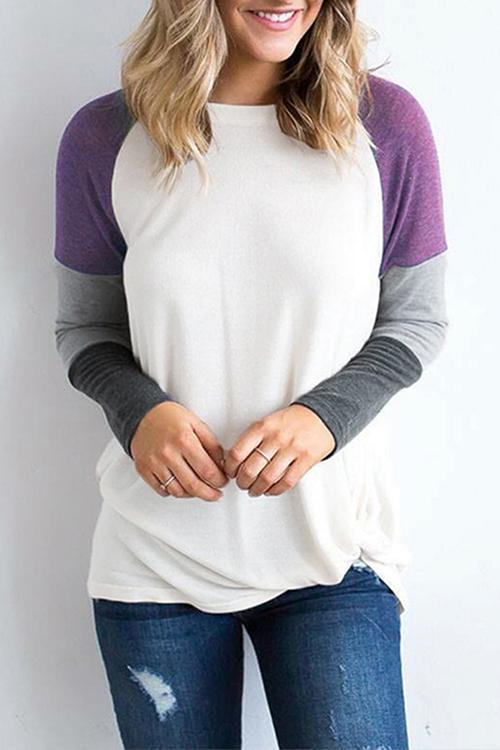 Stitched Long-sleeved Loose T-shirt