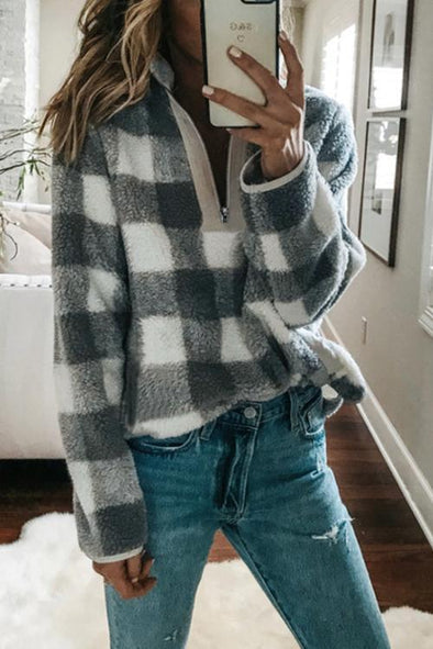 Plaid Long Sleeve High Collar Zip Hoodie