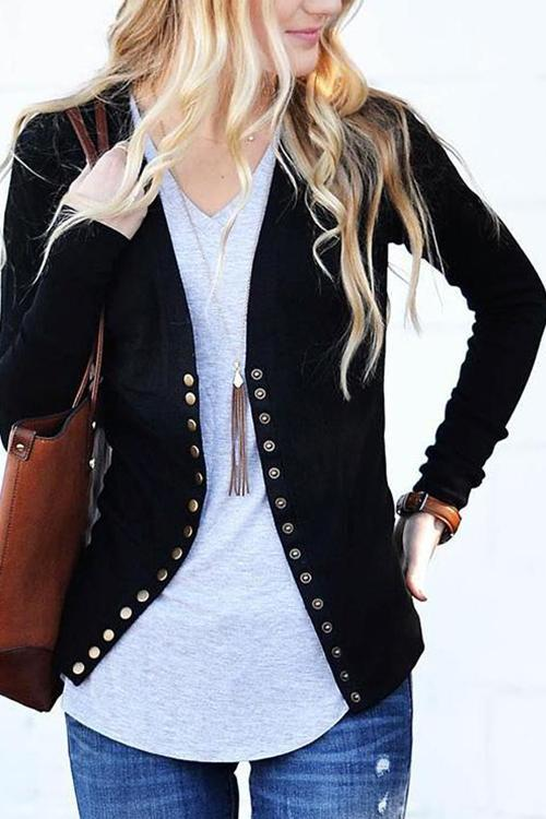 Design V-neck Long-sleeved Button Cardigan