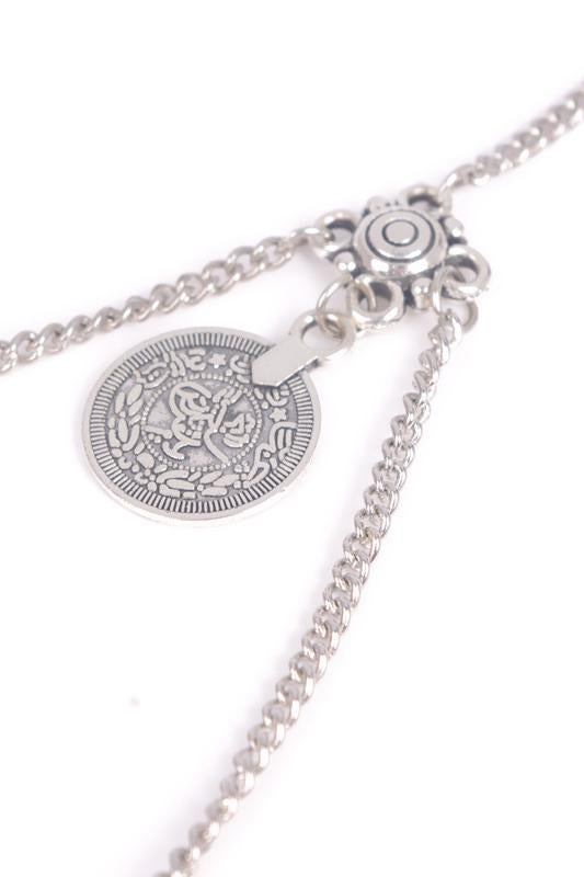 E&C Silver Layered Coins Pendant Vintage Thigh Chain