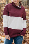 Chic Color-lump Patchwork Wine Red Hoodie