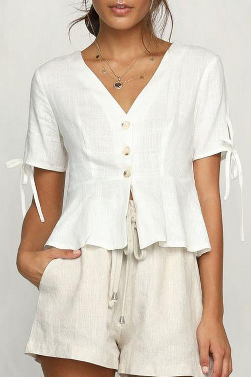 V Neck Short Sleeves Buttons Top