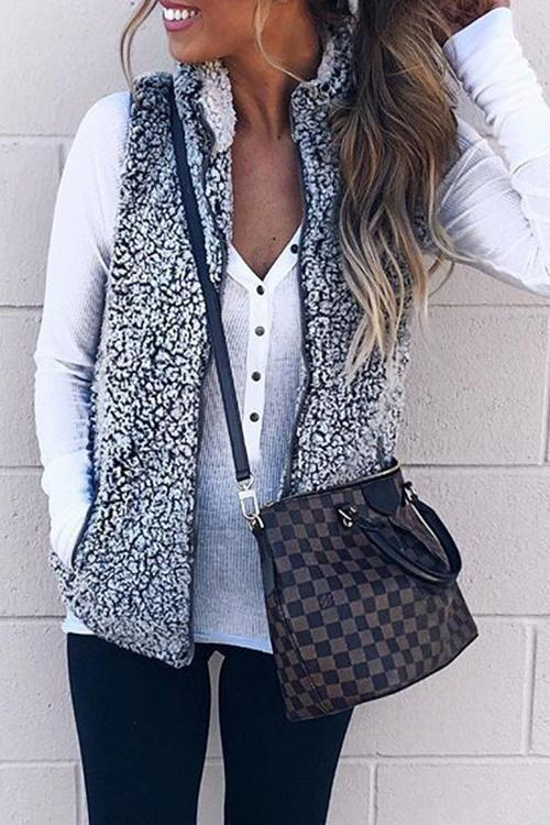 Stand Collar Furry Short Vest