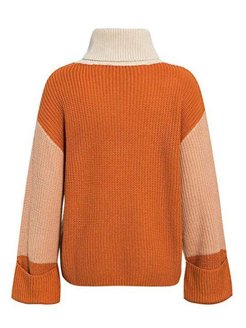 Color Block Loose Funnel Neck Sweater