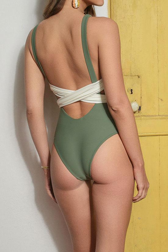 Green KNOTTED HIGH NECK LOW BACK ONE PIECE SWIMSUIT