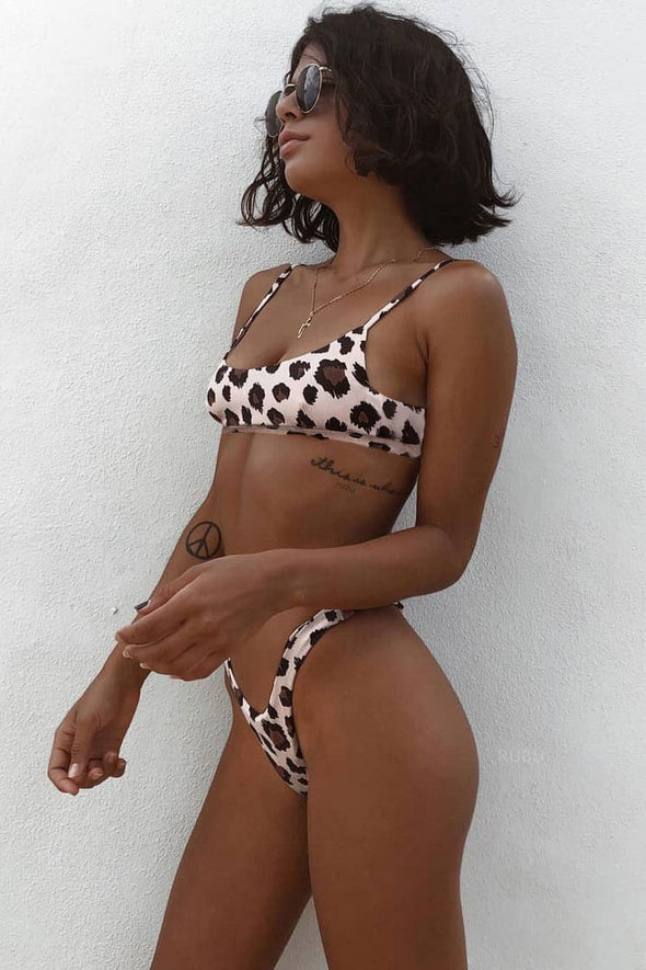 High Leg Leopard Bralette Thong Bikini - Two Piece Swimsuit