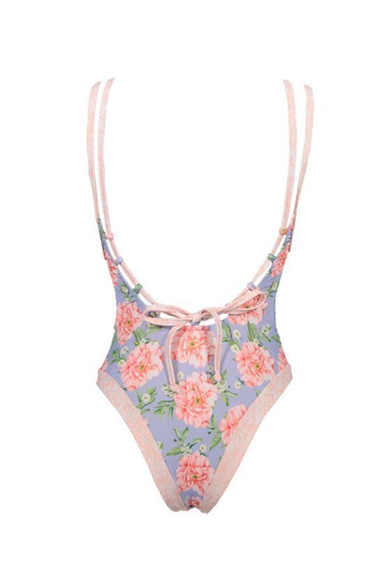 Low Back Flowers Plunged V Neck One Piece Swimsuit