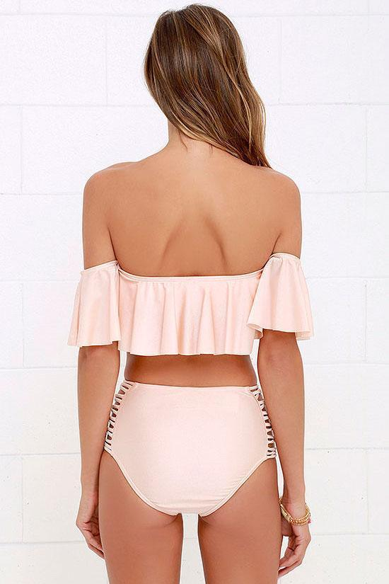 High Waist Strappy Ruffle Off Shoulder Bikini Swimsuit