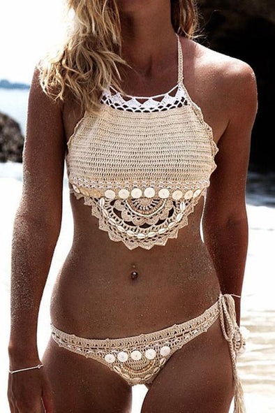Apricot Bohemian Shell Trim Scalloped Crochet High Neck Bikini Swimsuit