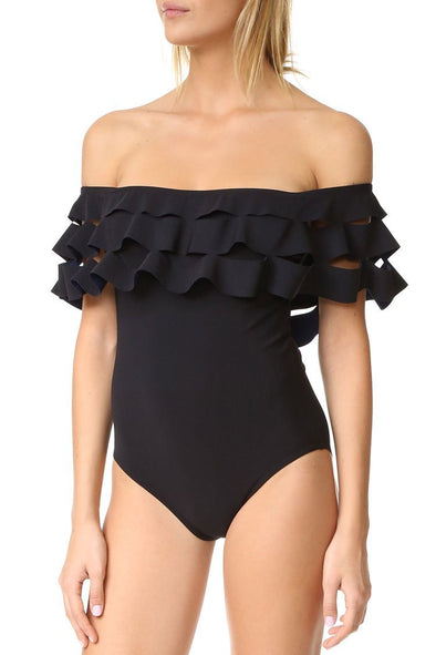 Black Layered Ruffle Off The Shoulder One Piece Swimsuit