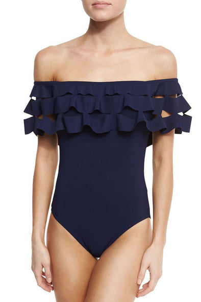 Navy Layered Ruffle Off The Shoulder One Piece Swimsuit