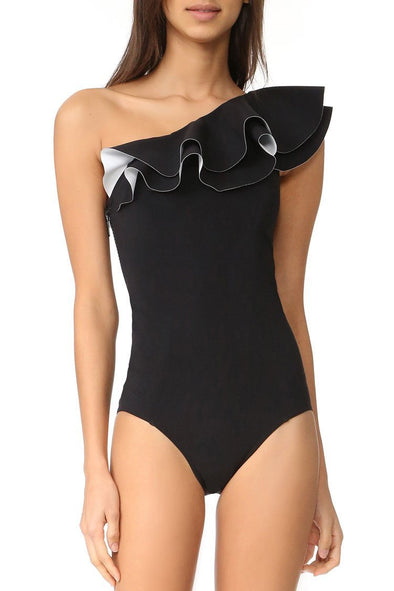 Black Layered Ruffle One Shoulder One Piece Swimsuit