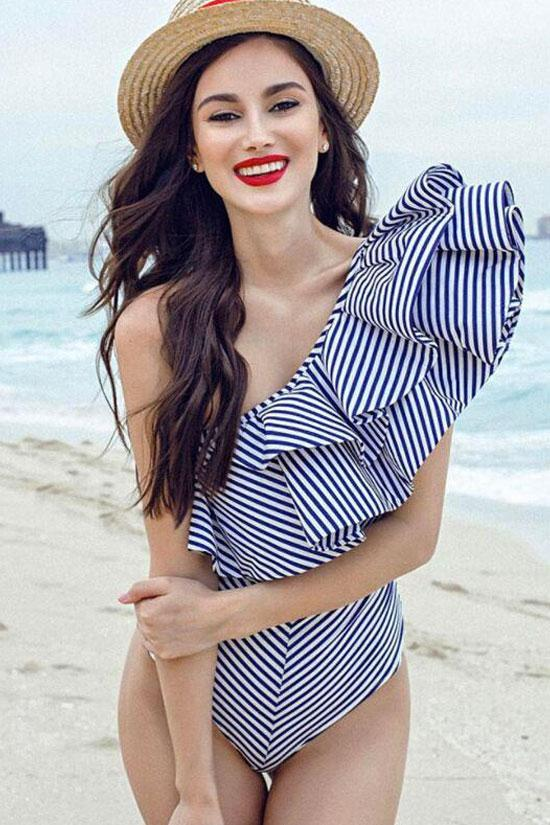 Cutout Back High Cut Striped Ruffle One Shoulder One Piece Swimsuit
