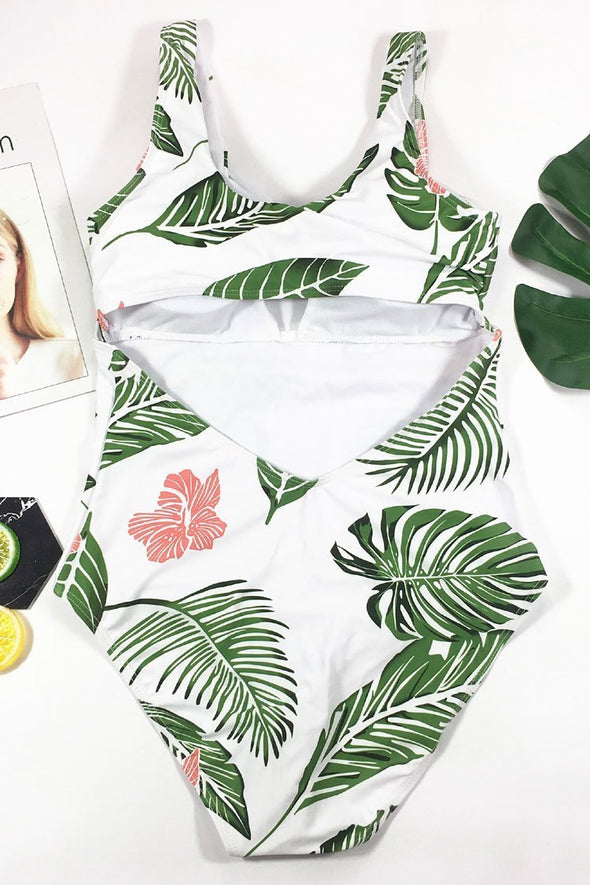 Green PALM LEAF KNOTTED FRONT CUTOUT ONE PIECE SWIMSUIT