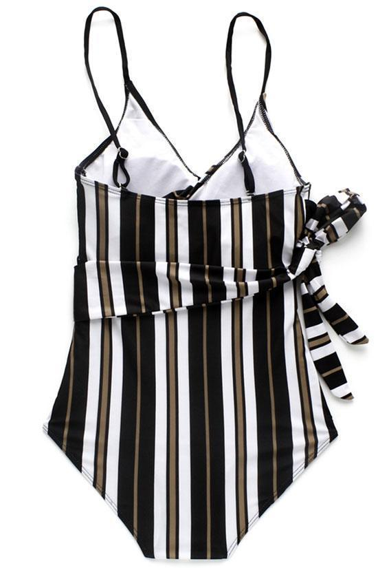 VERTICAL STRIPED KNOTTED SIDE WRAP ONE PIECE SWIMSUIT