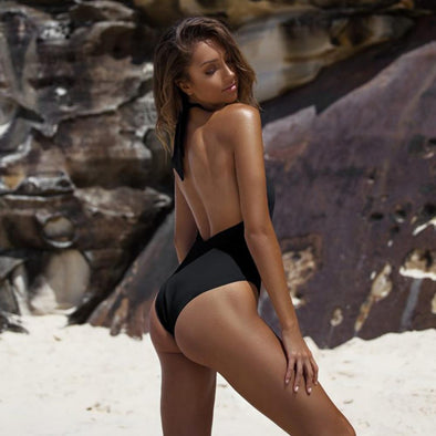 Sexy Halter Criss Cross Cut Out Low Back One Piece Swimsuit