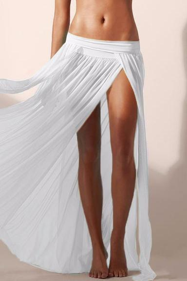E&C White Elastic Waist High Slit Pleated See Through Sexy Maxi Skirt Cover Up