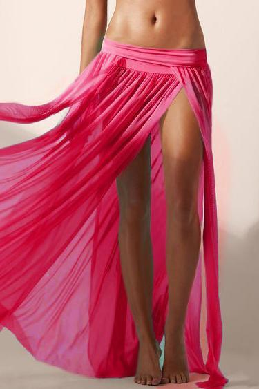 E&C Fuchsia Elastic Waist High Slit Pleated See Through Sexy Maxi Skirt Cover Up