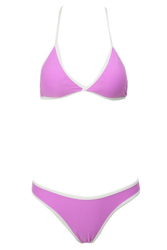 Light Purple Triangle Contrast Trim High Cut Brazilian Bikini Swimsuit