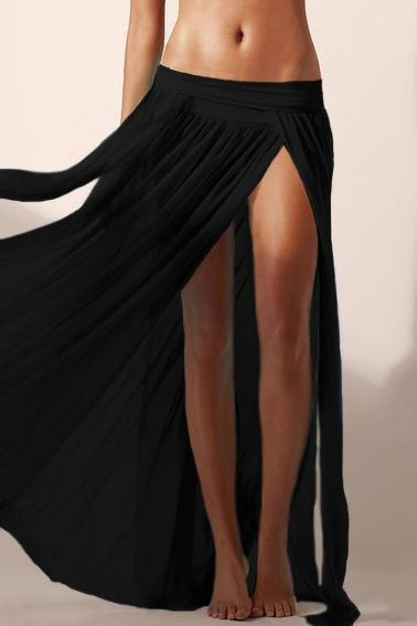 E&C Black Elastic Waist High Slit Pleated See Through Sexy Maxi Skirt Cover Up