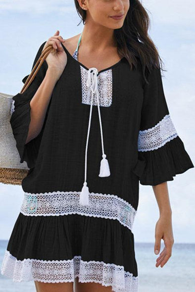 E&C Black Crochet Hollow Out Flare Sleeve Ruffle Beach Cover Up Tunic